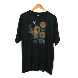 Vintage Sunflower Floral Print Black Tee Shirt XL